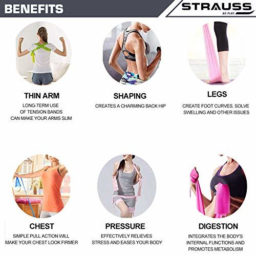 Strauss Yoga Resistance Band, (Multicolor) (Pack of 3)
