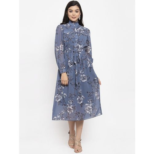 KASSUALLY mock neck floral a-line dress