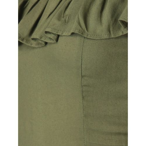 Diva Walk Exclusive green viscose aline dress