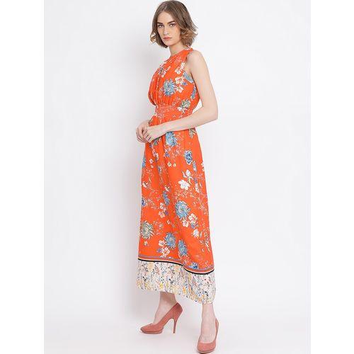 oxolloxo contrast print hem floral maxi dress