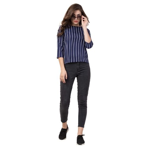 FAB FOREVER round neck striped top