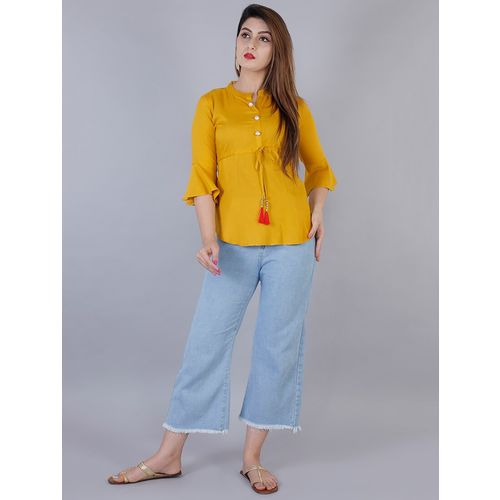 Gujari tassel tie up bell sleeved top