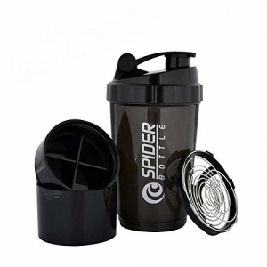 Aeroware V A International Cyclone Protein Shaker Bottle for Gym with 2 Detachable Compartments for Unisex, 500 ml (Black)