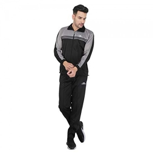 HPS Sports Black Solid Polyster Tracksuit