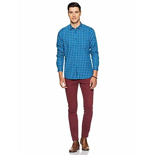 Louis Philippe Men's Checkered Slim fit Casual Shirt (LYSFCSSPJ59779_Blue 42)