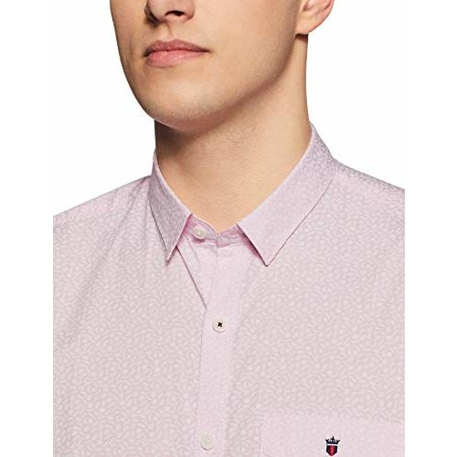 Louis Philippe Men's Printed Slim fit Casual Shirt (LYSFCSLPX65098_Pink 40)