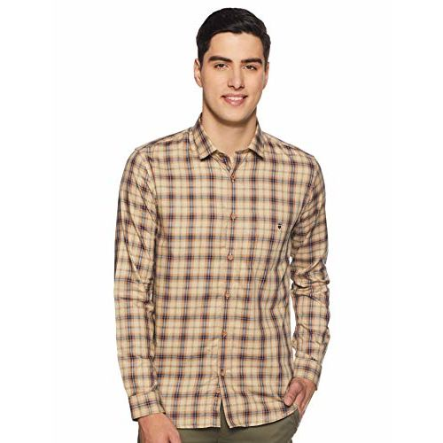Louis Philippe Men's Checkered Slim fit Casual Shirt (LYSFCSSB300192_Beige 44)