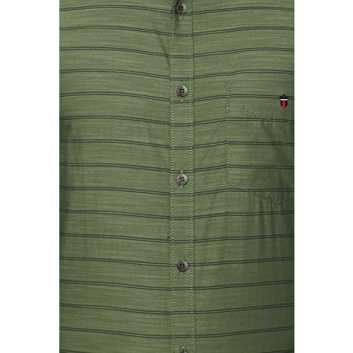 Louis Philippe Men's Striped Slim fit Casual Shirt (LYSFCSSBP48442_Green 40)