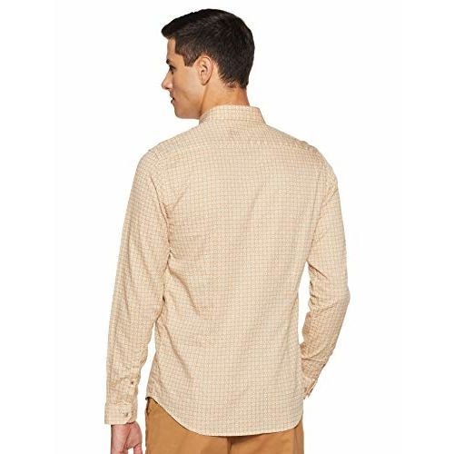 Louis Philippe Men's Printed Slim fit Casual Shirt (LYSFCSSPQ06173_Beige 40)