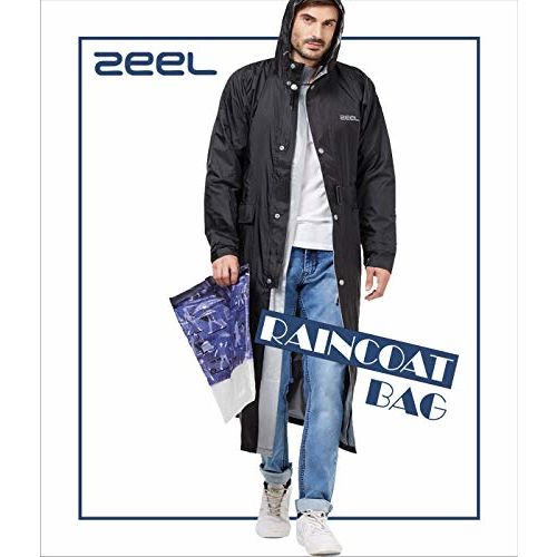 ZEEL Long Raincoat for Men and Women | Long Jacket with Hood and Waterproof Carrying Pouch | Unisex | Black | Regular | AZ04