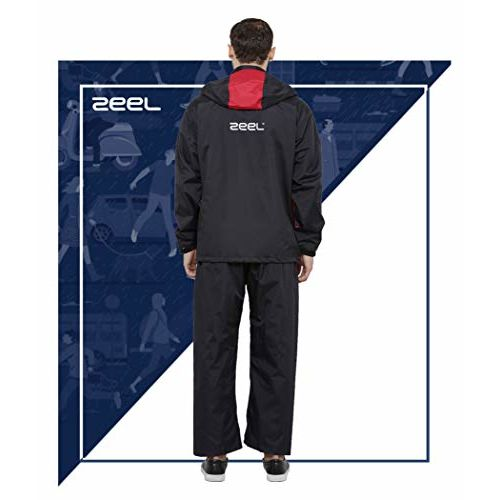 ZEEL Seam Sealed Raincoat Long Jacket with Hood   Waterproof Pant and Carrying Pouch   Unisex   Black - RED   Size - XL   AZ05