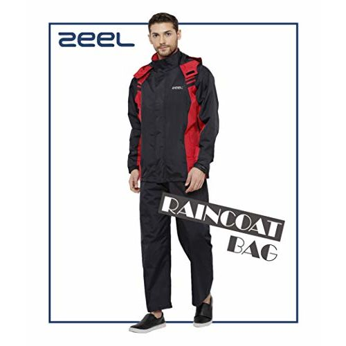 ZEEL Seam Sealed Raincoat Long Jacket with Hood | Waterproof Pant and Carrying Pouch | Unisex | Black - RED | Size - XL | AZ05
