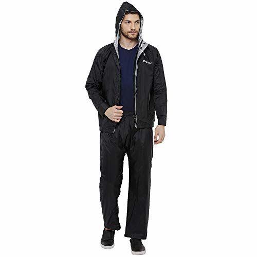 ZEEL Mens Raincoat with Adjustable Hood   Reversible Raincoat for Men   Waterproof Pant and Carrying Pouch   Black   Size - XXL   AZ02