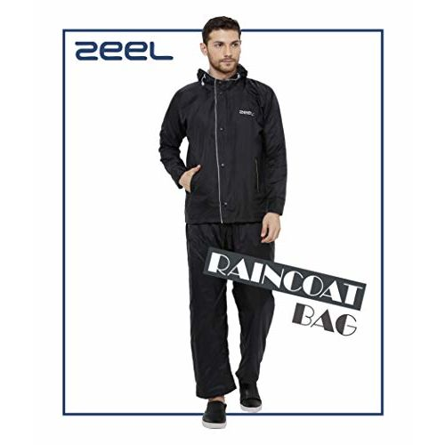 ZEEL Mens Raincoat with Adjustable Hood | Reversible Raincoat for Men | Waterproof Pant and Carrying Pouch | Black | Size - XXL | AZ02