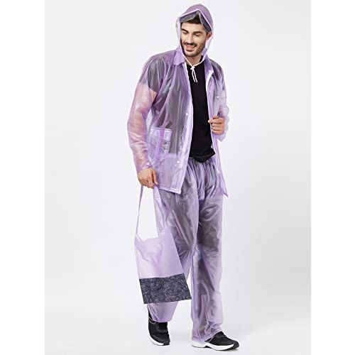 ZEEL Mens Raincoat with Hood |Water Fighter/Rain Coat for Men | Waterproof Pant and Carrying Pouch | AW07 (L, Purple)