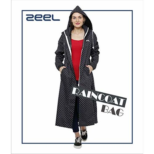 ZEEL Ladies Polka dots Raincoat | Tapping Long Raincoat with Waterproof Carrying Pouch | Black | Size - 52 | AZ11