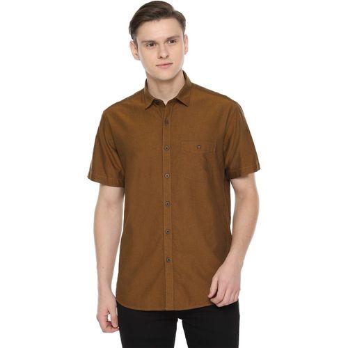 Louis Philippe Men Self Design Casual Brown Shirt