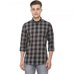 Louis Philippe Men Checkered Casual Grey Shirt