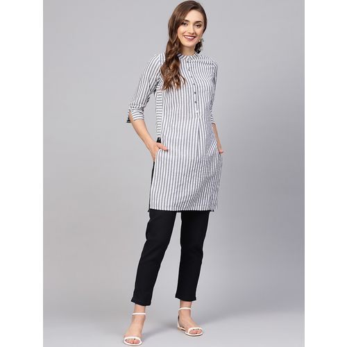 jaipurkurti grey striped kurta pant set