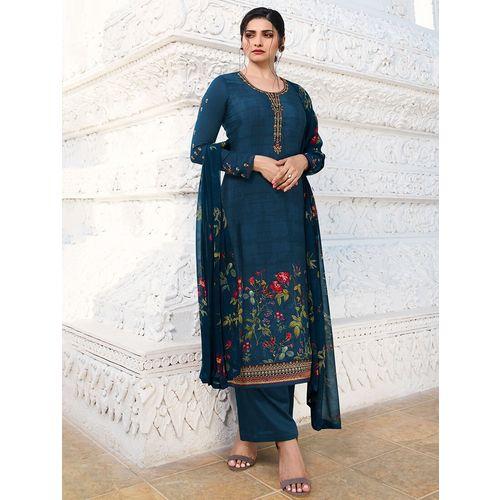 Ethnic Hub printed semi-stitched suit