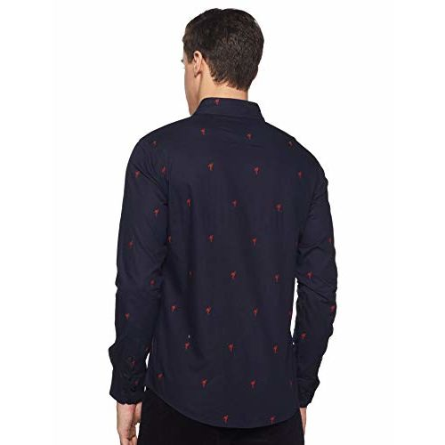 Diverse Men's Printed Slim fit 1621 Casual Shirts (DCMCF04SC10L03-301_Navy M)