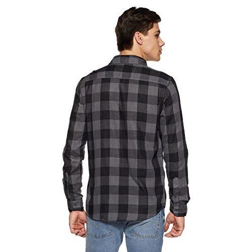 Diverse Men's Checkered Regular Fit Casual Shirt (DVC04C7L02-180_Grey/Black_XL)
