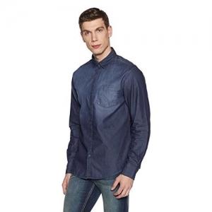 Diverse Men's Solid Slim Fit Cotton Casual Shirt (DVC01C4L01-63c_Blue_Medium)
