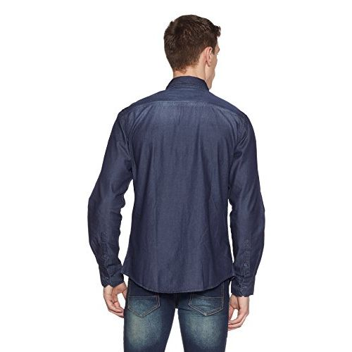 Diverse Men's Solid Slim Fit Cotton Casual Shirt (DVC01C4L01-63c_Blue_Medium)