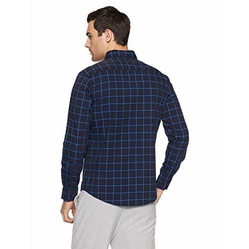 Diverse Men's Checkered Regular Fit Casual Shirt (DCMCF01RC11L03-209B_Navy_X-Large)