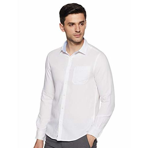 Diverse Men's Solid Slim fit Casual Shirt (DCMCF04SC11L04-322D_ White S)
