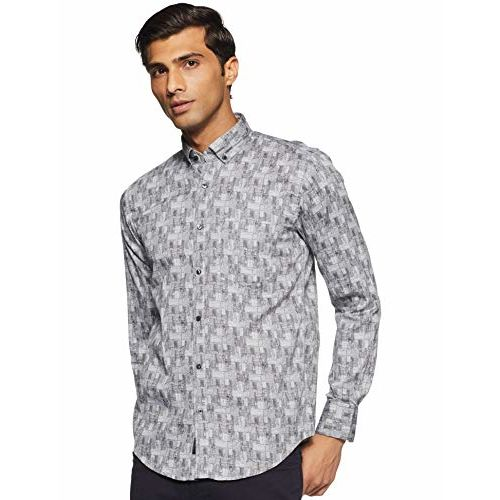 Diverse Men's Printed Slim fit Casual Shirt (DCMCF33SC19L31-3097B_ Grey L)