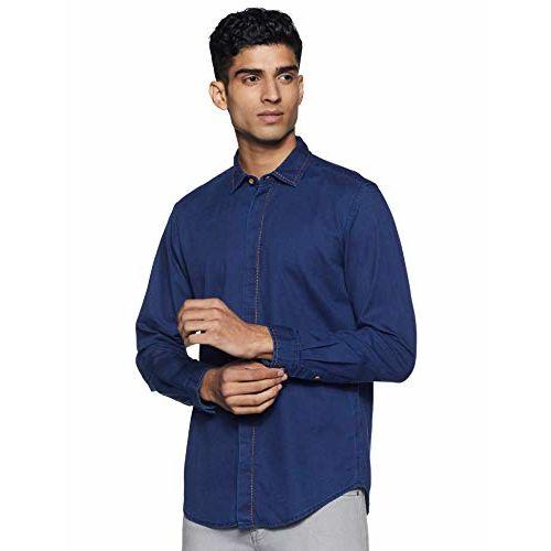 Diverse Men's Solid Slim fit Casual Shirt (DCMCF29SC19L31-3106_ Navy Blue L)