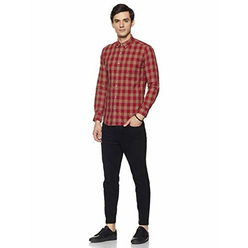 Diverse Men's Checkered Slim fit Casual Shirt (DCMCF21SC19L31-3114B_Red M)