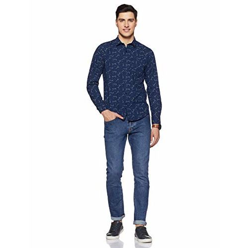 Diverse Men's Printed Slim fit Casual Shirt (DCMCF07SC10L03-295A_Navy M)