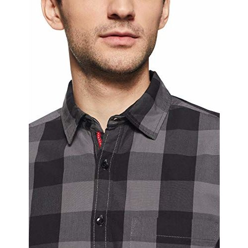 Diverse Men's Checkered Slim fit Casual Shirt (DCMCF14SC13L04-180_ Grey/Black L)