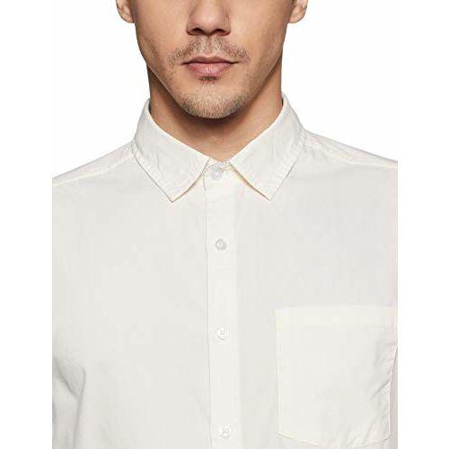 Diverse Men's Solid Slim fit Casual Shirt (DCMCF14SC10L03-314_Cream L)