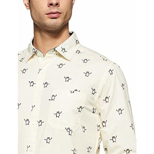 Diverse Men's Printed Slim fit Casual Shirt (DCMCF04SC14L31-3243_Off-White M)