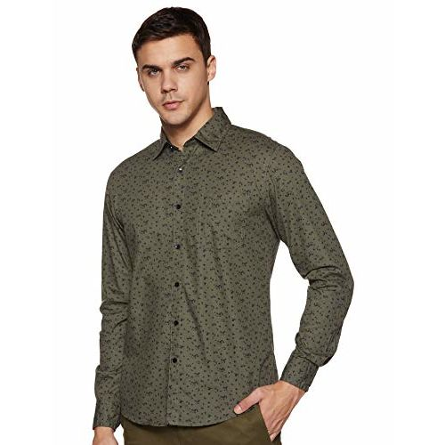 Diverse Men's Printed Slim fit Casual Shirt (DCMCF04SC14L31-3462_Olive L)