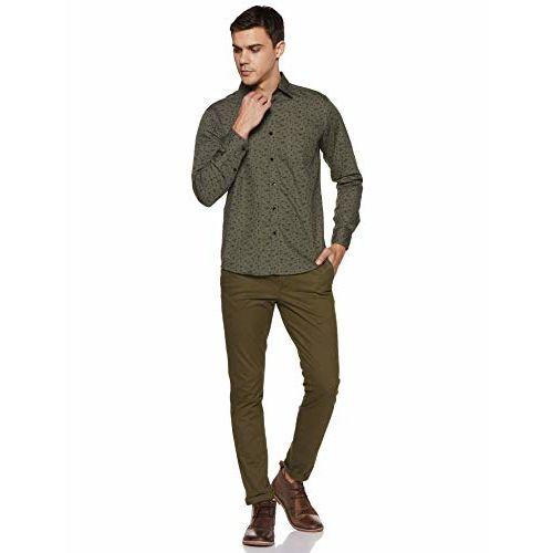 Diverse Men's Printed Slim fit Casual Shirt (DCMCF04SC14L31-3462_Olive L)