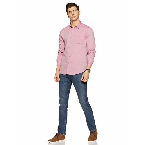Diverse Men's Solid Slim fit Casual Shirt (DCMCF04SC11L04-319B_Red M)