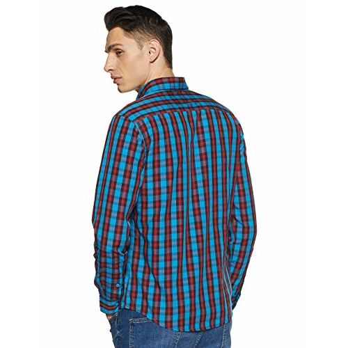 Diverse Men's Checkered Slim fit Casual Shirt (DCMCF04SC14L31-3227_Navy/Blue L)