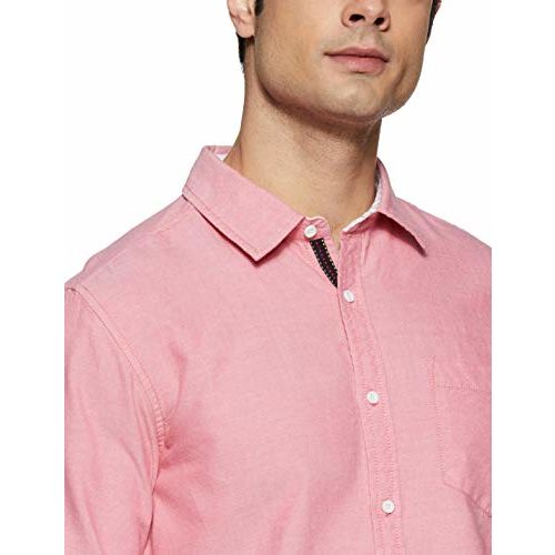 Diverse Men's Solid Slim fit Casual Shirt (DCMCF14SC14L32-3275C_Light Red S)