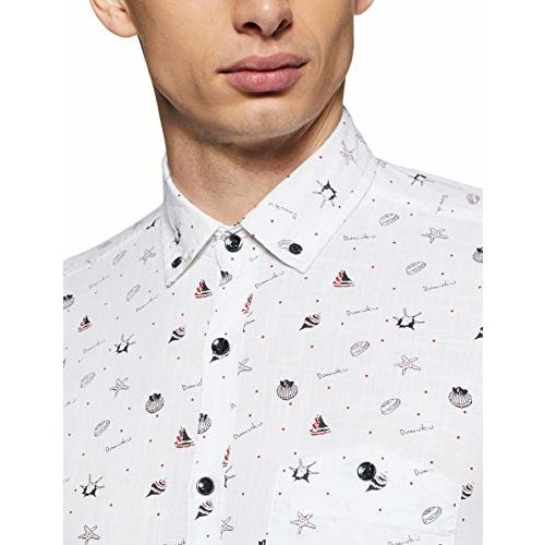 Diverse Men's Printed Slim fit Casual Shirt (DCMCF47SC14L31-3344_ White L)