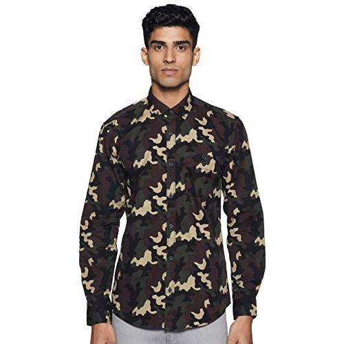 Diverse Men's Printed Slim fit Casual Shirt (DCMCF47SC17L31-3143_ Olive XL)