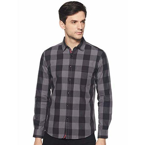 Diverse Men's Checkered Slim fit Casual Shirt (DCMCF14SC13L04-180_ Grey/Black M)