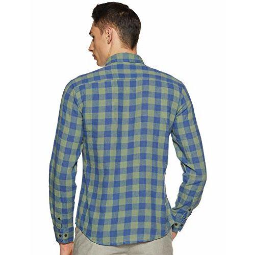 Diverse Men's Checkered Slim fit Casual Shirt (DCMCF01SC19L31-3184_Blue/Olive L)