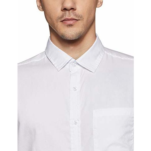 Diverse Men's Solid Slim fit Casual Shirt (DCMCF14SC10L04-312_White L)