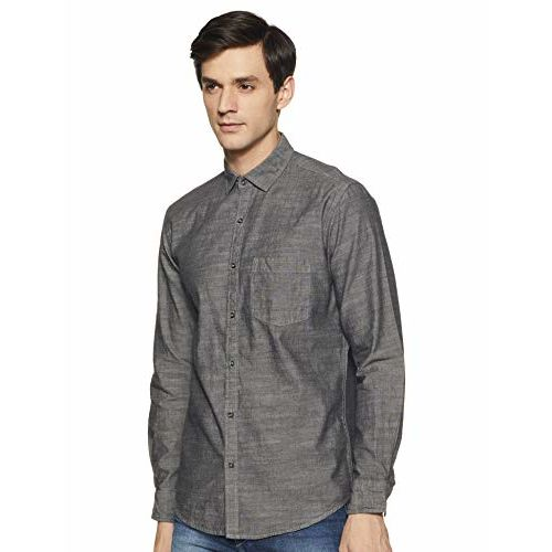 Diverse Men's Solid Slim fit Casual Shirt (DCMCF01SC19L05-3124_ Grey L)