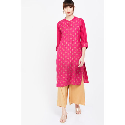 RANGRITI Foil Print Three-quarter Sleeves Kurta
