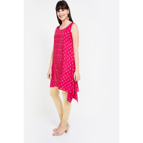 COLOUR ME Dipped Hems Foil Print Flared Kurta